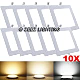 ZEEZ Lighting - 18W 8.86'' Square Cool White Non-Dimmable LED Recessed Ceiling Panel Down Light Bulb Slim Lamp Fixture - 10 Packs