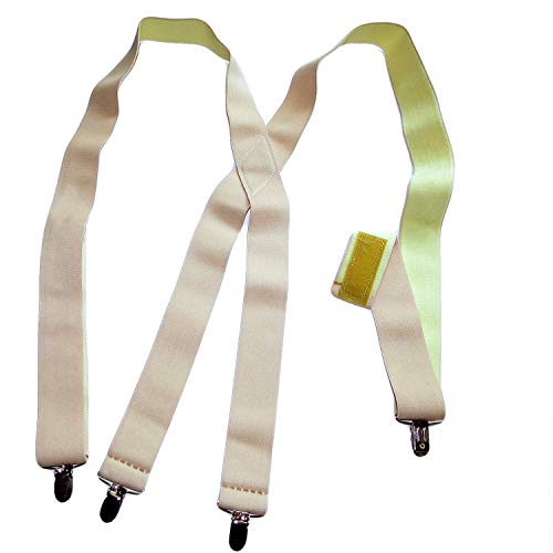 1 1/2'' Wide Hidden Undergarment Suspenders in X-back style with No-slip® Silver Clips by Hold-Up Suspender Co.