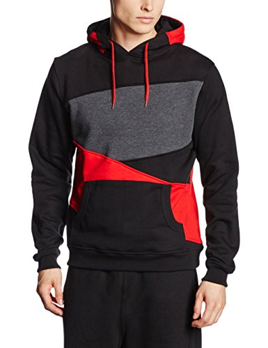 Urban Classics Zig Zag Hoody (2) TB205 , color:black/red/charcoal;size:3XL by Urban Classics