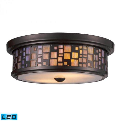 Elk Lighting 70027-2-LED Tiffany 2-Light Oiled Bronze with Tea-Stained Glass-LED Flush - Glass Landmark Lighting