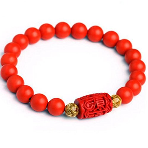 - juyude Cinnabar bracelet, gold foil, Buddhist pearl, and couple of men and women