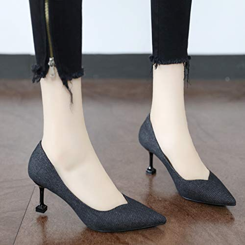 shoes YMFIE 34 denim stiletto pointed temperament with European fashion ladies heels single elegant EU cat Orx0wOqv