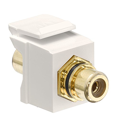 (Leviton 40830-BTE QuickPort RCA, Gold-Plated Connector with Black Stripe, Light Almond)