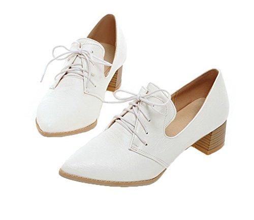 Couleur PU Chaussures Blanc Légeres AllhqFashion Talon à Femme Cuir Lacet Unie Haut HwPt5q