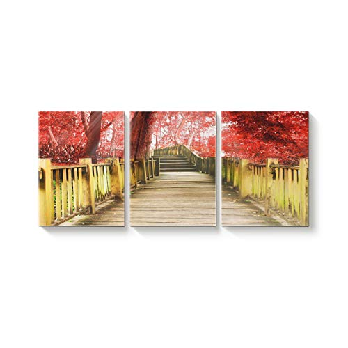 Arts Language 3 Piece Canvas Wall Art Painting for Office Bedroom Living Room Home Decor,The Scenery of Retro Bridge Red Maple Pictures Modern Artworks,28 x 32in x 3 Panels