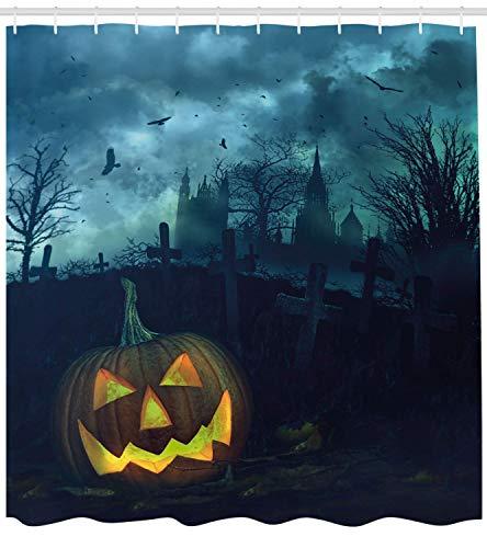 Fantasy Star Durable Waterproof Shower Curtains for Bathroom- Halloween Pumpkin in Spooky Graveyard Eerie Gloomy Stormy Atmosphere, Machine Washable Bathroom Decoration, Hooks Included, 72