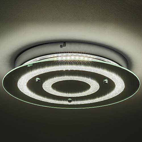 Fine Art Lamps Crystal Mirror - Auffel Minimalist LED Ceiling Light,Modern Roundness Flush Mount Ceiling Light K9 Crystal+Glass+Metal Decoration Lamp,14-Inch 4000K 2640ML Dimmable Chandelier Lighting for Hallway,Bathroom,Stairw,Kitc