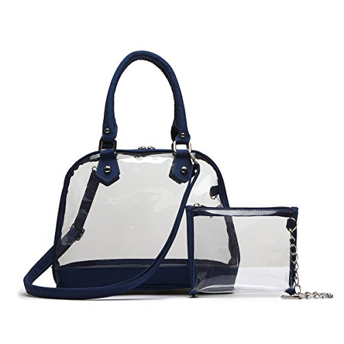 Clear Dome Shaped Top Handle Bag with Mini Clear Messenger Bag