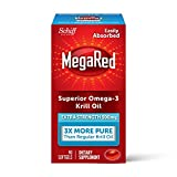 Omega-3 Fish Oil 500mg - Megared Extra Strength softgels (90 count in a Box) - Krill Oil No fishy aftertaste