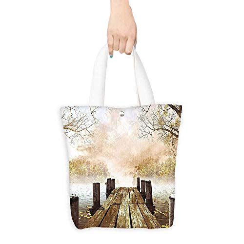 Foldable Shopping Bag Fall Wooden Dock Bridge Pier Enchanted Nature Fairy Tale Mystic Design Autumn Season Printed Art Beige Brown Taupe (W15.75 x L17.71 Inch)
