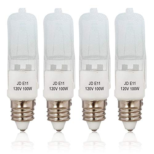 4-Pack JD E11 120V 100W Frosted Halogen JDE11 100W Bulb Warm White 100 Watt E11 Bulb Frosted JDE11 for Chandeliers, Pendants, Table Lamps, Cabinet Lighting, Mini-Candelabra Base, by Bluex Bulbs ()