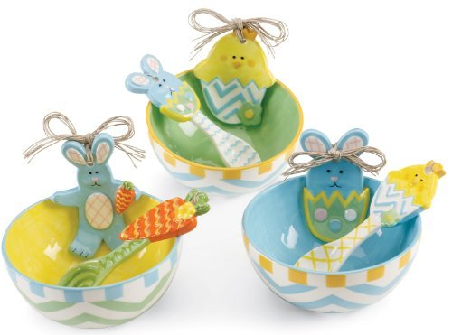 Bunny Rabbit Baby Chick in Egg Easter Treat Bowls with Scoops Set (Chicks Eggs Bowl)