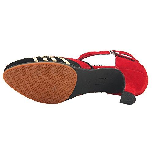 Estándar Gamuza Latino Mujer de Alto Zapatos Tacón Rojo de XFentech Baile 5CBq6