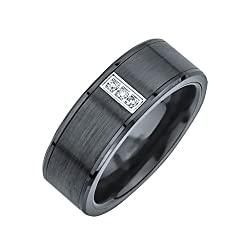 3-stone Diamond Accent Band in Black Ceramic (0.05 carats)
