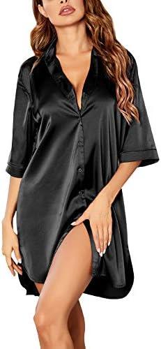 Ekouaer Women's Nightgown Button Down Sleepshirt Satin 3/4 Sleeve Nightshirt Boyfriend Notch Collar Sleepwear