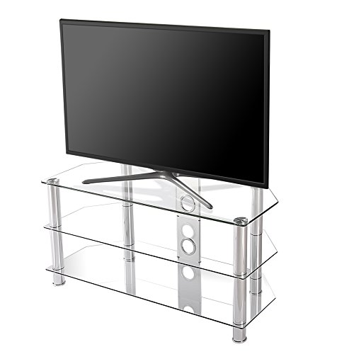 (FITUEYES Classic Clear Tempered Glass TV Stand Suit for up to 46-inch LCD LED OLED TVS,TS310501GT)