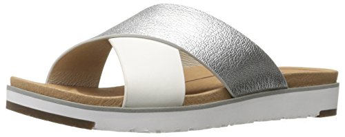 UGG Women's Kari Metallic Flat Sandal, Silver, 9 B US (Best Uggs For Narrow Feet)