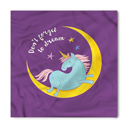 Unicorn Bandana by Lunarable, Dont Forget to Dream Quote Print with Unicorn Sleeping on Crescent Moon Art Image, Printed Unisex Bandana Head and Neck Tie Scarf Headband, 22 X 22 - Image Ban