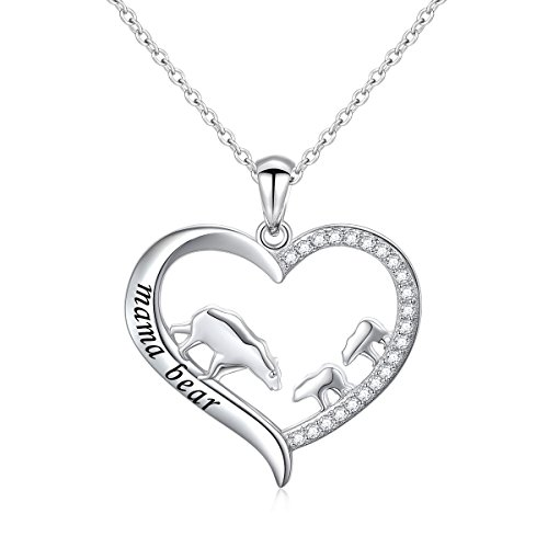 DAOCHONG Mother and Child S925 Sterling Silver Mama Bear with Cub Heart Pendant Necklace for Family (2 cubs) ()