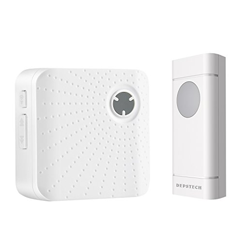 Amztronics Wireless Doorbell, Waterproof Door Bell Kit Operating over 900 Feet Range with 52 Chimes, 4-Level Volume, LED Indicator, No Batteries Required for Receiver