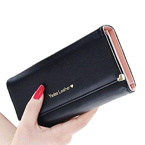 2018 Gift Elegant Wallet wrist Leather Wallet wallet Clutch cute Black Purse Women Long Bags Clearance wallets Noopvan PU wEqUdIx77