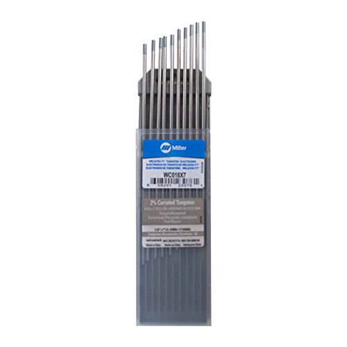 "Miller Weldcraft WC018X7 2% Ceriated Tungsten Electrode 1/8"" X 7"" 