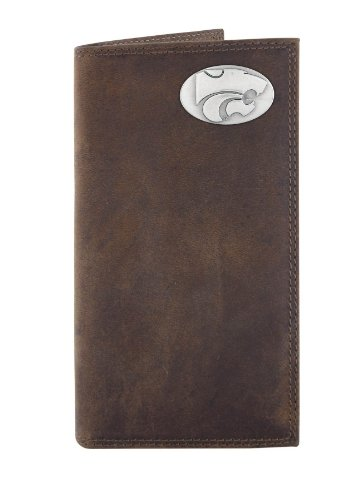 NCAA Kansas State Wildcats Zep-Pro  Crazyhorse Leather Roper Concho Wallet, Light Brown