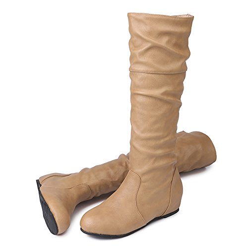 Lenfesh Ladies Knee High Long Boots, Womens Winter Low Heel Solid Color Martin Pointed Boots Shoes Khaki