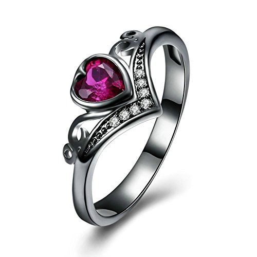 Adisaer Women Rings Black Gold Plated Heart Amethyst Ring Size 9 Wedding Ring Bands for Bride