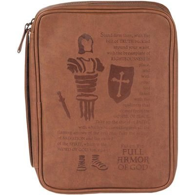 Full Armor of God Brown Vinyl Bible Cover Case with Handle, Medium ()