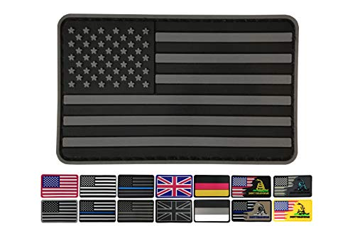 3.15x1.97 inch American Flag Patch Black and Gray USA Patches PVC Rubber Patch 3D Pride Moral Patch Clothes Patch Backside Tactical Patches Patch for Military Uniform, Tactical bag, Jacket, Team, Back