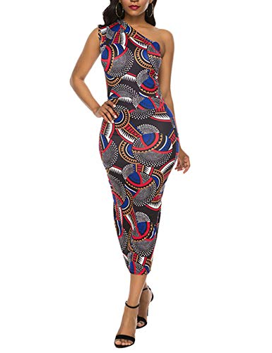 Womens Boho Floral Sleeveless Dashiki Maxi Long African Print Dress (African Print Dress)