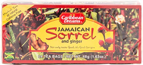 Caribbean Dreams Sorrel & Ginger Tea, 24 Tea Bags, All Natural, Caffeine Free, Herbal Tea
