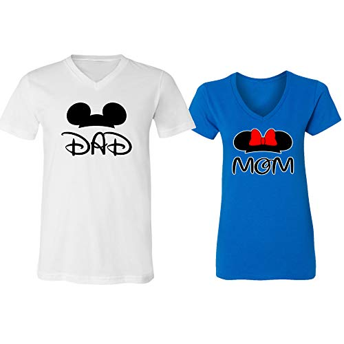 GOOD SHOPPERS ACTIVEWEAR Mickey Dad Minnie Mouse Mom Family Couple Design V-Neck Shirt for Men Women(White-Royal,Men-XL/Women-M)]()