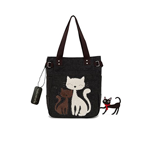 Valentines-Day-Gifts-Valentoria-Cute-Cat-Design-Multifunction-Womens-Canvas-Zipper-Closure-Handbag-Shoulder-Lunch-Tote-Bag-with-Large-Capacity-Best-Gifts-for-Teen-Girls