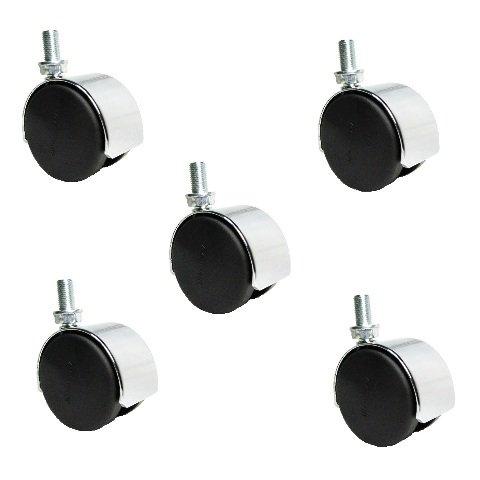 Set of 5 Shepherd 2'' Chrome Twin Wheel Nylon Tread Casters with 3/8'' -24 x 5/8''