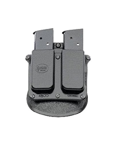 Fobus 4500 Holster Double Magazine Pouch, Paddle, Single Stack, .45 Cal 9MM Black