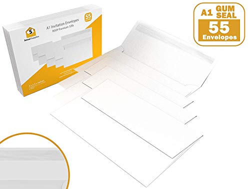 (55 3.5x5 White Gum Seal Invitation Envelopes - A1 - for 3.5x5 Cards (3 5/8 x 5 1/8 inches))