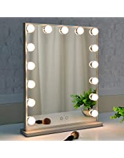 Hollywood Vanity Mirror with Lights,Makeup Mirror with 15pcs Adjustable Led Bulbs,Tabletop or Wall Mounted Dressing Illuminated Beauty Mirror (Silver)
