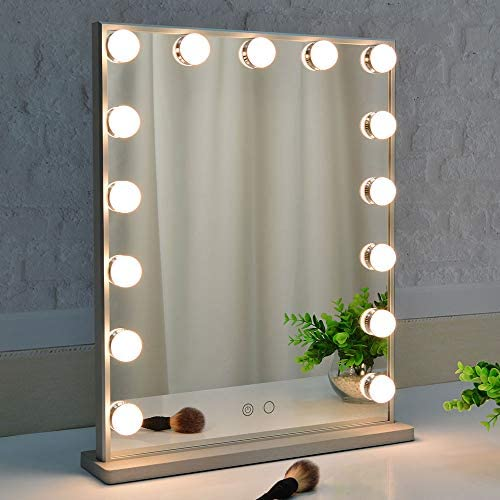 BEAUTME Hollywood Makeup Mirror with Lights,Vanity Mirror with 15pcs Adjustable Led Lights,Tabletop or Wall Mounted Dressing Illuminated Cosmetic Beauty Mirror Adjustable Brightness Silver