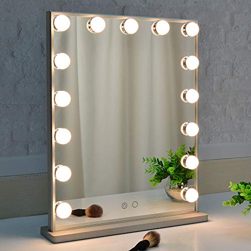 BEAUTME Hollywood Makeup Mirror with Lights,Vanity Mirror with 15pcs Adjustable Led Lights,Tabletop -