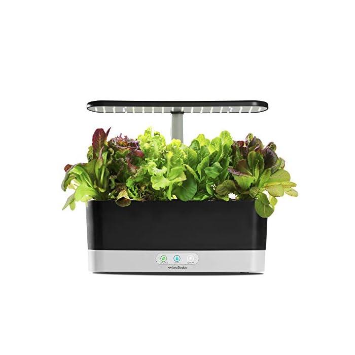 41w3ZsFVpeL El sistema de iluminación LED de 20 vatios de espectro completo con alto rendimiento se sintoniza con el espectro específico que permite las plantas maximizar la fotosíntesis, lo que resulta en un crecimiento rápido y natural y cosechas abundantes. Cultiva hasta 6 plantas a la misma vez. Las plantas crecen en agua… no en tierra. Hidroponía avanzada simplificada. El panel de control sencillo y fácil de usar le indica cuándo añadir el agua, le recuerda cuándo añadir los nutrientes patentados (incluidos), además de encender y apagar las luces automáticamente
