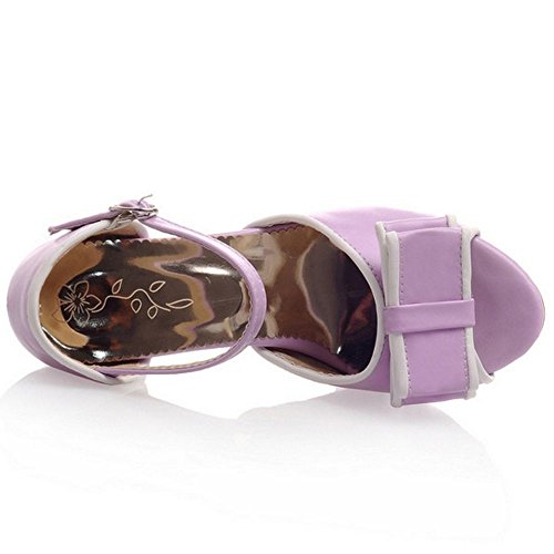 High Heel Solide Sandalen Peep LongFengMa Damenmode Bowite Toe Lila vI0XYq
