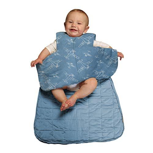 Gunamuna Gunapod Luxury Bamboo Viscose Wearable Blanket Sleeping Bag, Blue White Airplanes, 9-18 Months