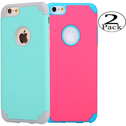 iPhone 6/6s Case,[2 Pack] iBarbe slim fit Rubber PC Shockproof Heavy Duty Protection Case with soft Inner Protection Reinforced Hard Bumper for Apple iPhone 6 6s (4.7 inch) - Teen Girl Nake