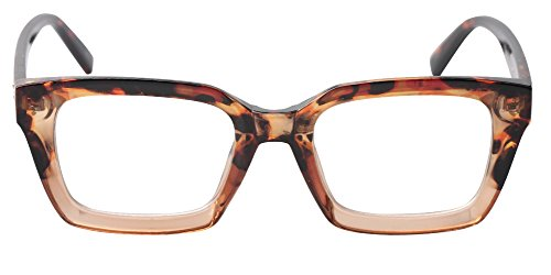 SOOLALA Retro Desinger 47mm Large Lens Square Reading Glass Big Eyeglass Frame, Leopard, 2.0