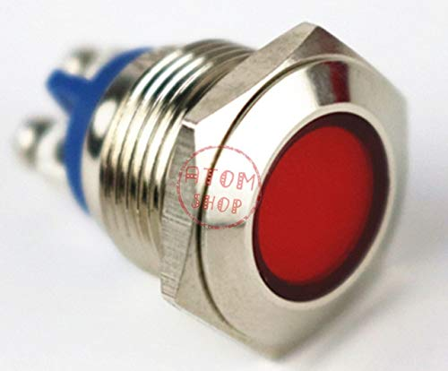 YM045 16mm signal light power pilot lamp12V 24V 110v 220V metal Waterproof LED indicator light - (Color: Red, Voltage: 24V)