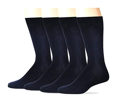 Dockers Men's 4 Pack Dress Wide Rib Crew Socks, Navy, Shoe 6-12 (Sock Size: 10-13) (Rib Classic Dress Sock)