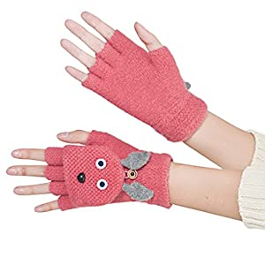 Women Girls Cute Cartoon Rabbit Wool Knitted Convertible Flip Top Gloves with Mitten Cover Winter Warm Half Finger Mittens Thermal Cable Fingerless Driving Texting Gloves Hand Warmer Christmas Gift