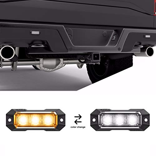 SpeedTech Lights Z-3 9W LED Strobe Light for Police Cars, Construction Trucks, Service Vehicles, Plows, Emergency Vehicles. Surface Mount Grille Flashing Hazard Beacon Light Amber/Clear (Yellow/White)